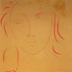 Arte: RETRATO FEMENINO. DIBUJO. SANGUINA SOBRE PAPEL. FIRMADO. ESPAÑA. CIRCA 1930. Lote 103504727