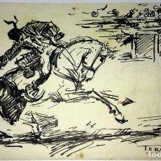 Arte: TAUROMAQUIA. DIBUJO. TINTA SOBRE PAPEL. FIRMADO TERRUELLA. CIRCA 1920. Lote 103597803