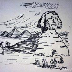 Arte: LA ESFINGE DE GIZEH. DIBUJO. TINTA SOBRE PAPEL. FIRMADO PAGÉS. ESPAÑA. XIX-XX. Lote 103598439
