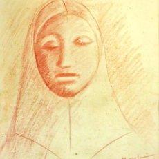 Arte: ESTUDIO PARA RETRATO DE MUJER. DIBUJO SANGUINA. FIRMADO BRULL (PAGÈS). ESPAÑA CIRCA 1930. Lote 103599855