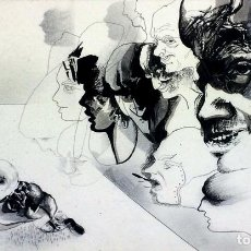 Arte: GRUPO SURREALISTA. DIBUJO. LÁPIZ Y TINTA SOBRE PAPEL. FIRMADO ALFONSO COSTA. ESPAÑA 1972. Lote 103604047