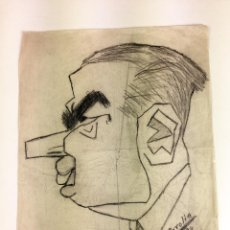 Arte: RETRATO MASCULINO. CARICATURA. GRAFITO SOBRE PAPEL. FIRMADO CAROLIN. ESPAÑA. 1934. Lote 103676887