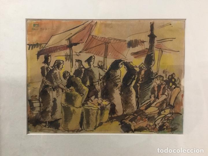 DIBUJO ORIGINAL. ACUARELA DE BON (ROMA BONET). REUS 14-8-41. FIRMADO. ESCENA MERCADO. (Arte - Dibujos - Contemporáneos siglo XX)