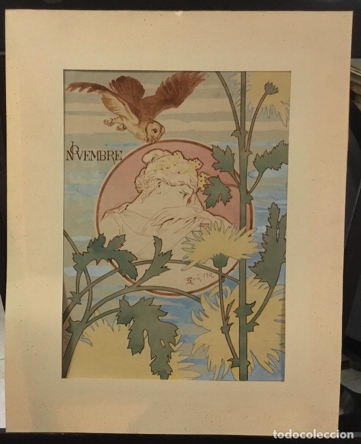 DIBUJO ORIGINAL MODERNISTA ACUARELA DE PAU ROIG. 1902. NOVEMBRE. 25 X 17,5 CM. (Arte - Dibujos - Contemporáneos siglo XX)