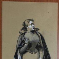 Kunst - DIBUJO ORIGINAL. LÁPIZ Y ACUARELA. RETRATO DE SEÑORA. FECHADO EN 1896. 32,5x20 cm. - 103707455