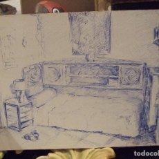 Arte: DIBUJO A TINTA DE HABITACION - FIRMADO PARIS . Lote 103711879