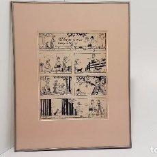 Arte: DIBUJO ORIGINAL A TINTA, SOBRE PAPEL, CHIPS Y SUS COMPAÑEROS. Lote 103830471