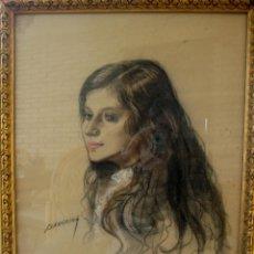Arte - RETRATO DE MUCHACHA. DIBUJO ORIGINAL A CARBONCILLO FIRMADO BARREIRA - 103882247