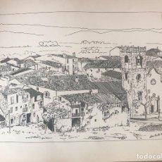 Arte: DIBUJO A TINTA DE ANTONIO MORALES 1981, ALPENS A LA COMARCA DEL LLUÇANÈS. . Lote 103936247
