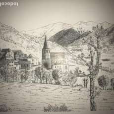 Arte: DIBUJO A TINTA DE ANTONI MORALES , LA VALL D'ANEU, PALLARS SOBIRA 1981. . Lote 104097287