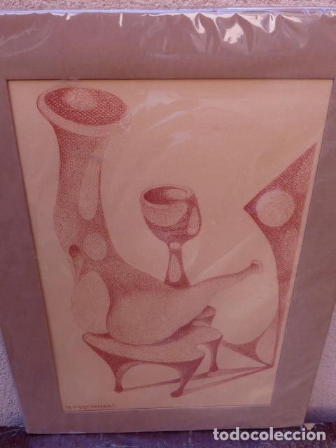 Arte: dibujo sobre cartulina.firma ilegible - Foto 2 - 104101475