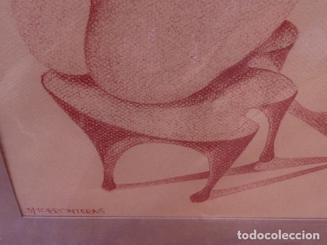 Arte: dibujo sobre cartulina.firma ilegible - Foto 4 - 104101475