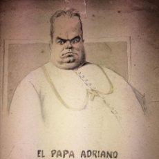 Arte: EL PAPA ADRIANO. CARICATURA. LÁPIZ Y ACUARELA SOBRE PAPEL. LUIS ALMERICH(?). ESPAÑA XIX-XX. Lote 104292027