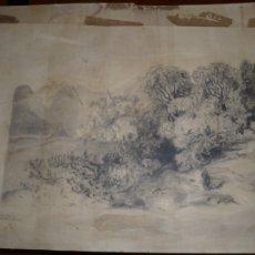 Arte: CARBONCILLO / PAPEL PAISAJE CON MUJER Y PERRO ,FIRMADO PINTOR CATALAN SIGLO XIX 50 CM X 32 CM . Lote 104299247