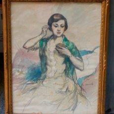 Arte: RICARD CANALS, DIBUJO, RETRATO FEMENINO. 68X54CM. Lote 104350455