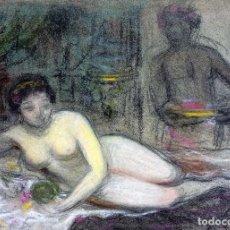Arte: DESNUDO FEMENINO. DIBUJO. PASTEL SOBRE PAPEL. ANÓNIMO. ESPAÑA. SIGLO XIX. Lote 104689559