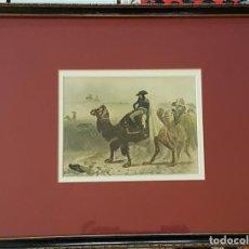 Arte: DIBUJO DE NAPOLEÓN EN EGIPTO, COLOREADO A MANO, FIRMADO POR PETER VAN HUFFEL. FINAL S.XVIII.. Lote 104737227