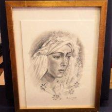 Arte: SEMANA SANTA SEVILLA, ESPECTACULAR GRAFITO DE LA ESPERANZA MACARENA, LEER MEDIDAS. Lote 104772951
