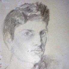 Arte: RETRATO DE HOMBRE JOVEN. CARBONCILLO SOBRE PAPEL. FIRMADO. ESPAÑA. XIX-XX. Lote 104793279