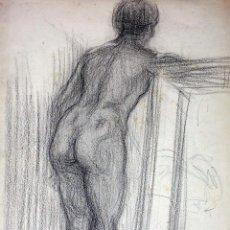 Arte: DESNUDO FEMENINO. DIBUJO. CARBONCILLO SOBRE PAPEL. ESCUELA CATALANA. EPAÑA. XIX. Lote 104793763