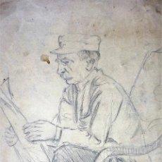 Arte: RETRATO DE ANCIANO LEYENDO. DIBUJO.CARBONCILLO SOBRE PAPEL. ESPAÑA. XIX.. Lote 104795203