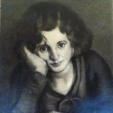 Arte: DIBUJO ORIGINAL AL CARBONCILLO DE JOAN MAURI ESPADALER,DE SABADELL,JOVEN MUJER,FIRMADO, AÑO 1950. Lote 104799591