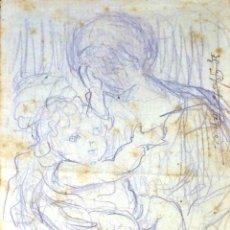 Arte: MUJER CON NIÑO. DIBUJO. LÁPIZ DE COLOR SOBRE PAPEL. FIRMADO. ESPAÑA. XIX. Lote 104855487