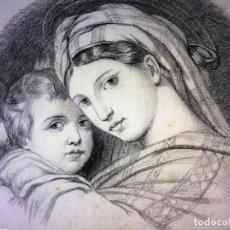 Arte: DIBUJOS RELIGIOSOS. GRAFITO.CARBONCILLO. ANÓNIMO. ESPAÑA. SIGLO XIX. Lote 104873771