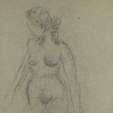 Arte: DIBUJO A CARBONCILLO ESTUDIO DESNUDO FEMENINO ESCUELA CATALANA M.S.XX . Lote 104900075