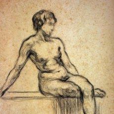 Arte: DESNUDO FEMENINO. CARBONCILLO SOBRE PAPEL. ESCUELA CATALANA. ESPAÑA. SIGLO XIX. Lote 104956707