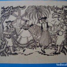 Arte: LÁMINA CON DIBUJO DE MARIANO MONTESINOS. BAILE PAGÉS. PALMA DE MALLORCA, AÑOS 50.. Lote 105009799