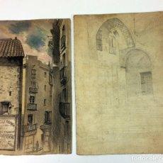 Arte: VISTAS DE BARCELONA. DIBUJO Y ACUARELA SOBRE PAPEL. ANÓNIMO. ESPAÑA. XIX. Lote 105258555