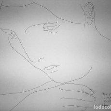 Arte: RETRATO DE MUJER. DIBUJO. TINTA SOBRE PAPEL. FIRMADO Y DEDICADO. ESPAÑA.XX. Lote 105258851