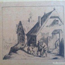 Arte: AÑO 1853 * PEQUEÑO DIBUJO A PLUMILLA * ESCENA CON TRES HOMBRES Y UNAS CASAS . Lote 105327375