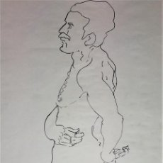 Arte: DESNUDO MASCULINO. DIBUJO. TINTA SOBRE PAPEL. ANÓNIMO. XIX-XX. Lote 105432643