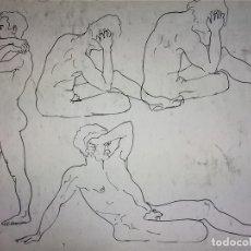 Arte: DESNUDOS MASCULINOS. DIBUJO. TINTA SOBRE PAPEL. ANÓNIMO. ESPAÑA. XIX-XX. Lote 105460795