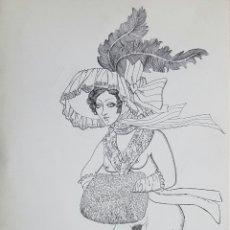 Arte: CELEDONIO PERELLON, PRECIOSO DIBUJO A TINTA FIRMADO.. Lote 105471583