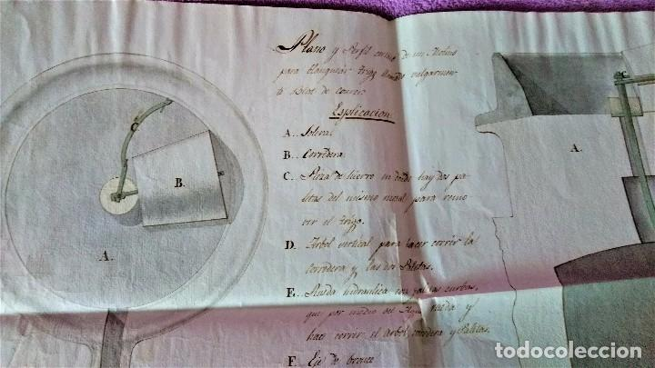 Arte: DIBUJO ORIGINAL PLANO, PERFIL CORTADO MOLINO PARA BLANQUEAR TRIGO PANADERIA 1790 - Foto 2 - 105612667