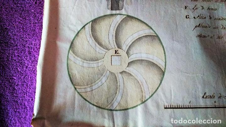 Arte: DIBUJO ORIGINAL PLANO, PERFIL CORTADO MOLINO PARA BLANQUEAR TRIGO PANADERIA 1790 - Foto 4 - 105612667