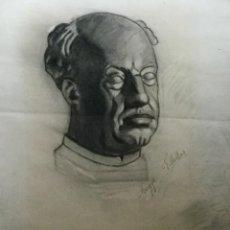 Arte: DIBUJO A CARBONCILLO BUSTO MASCULINO. Lote 105645231