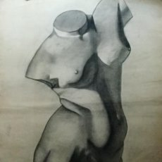 Arte: DIBUJO DE TORSO FEMENINO BOCETO ESCULTURA CLÁSICA. Lote 105645579