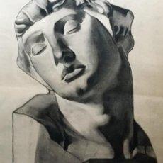 Arte: ANTIGUO DIBUJO A CARBONCILLO DE BUSTO MASCULINO BOCETO DE ESCULTURA CLÁSICA . Lote 105645743