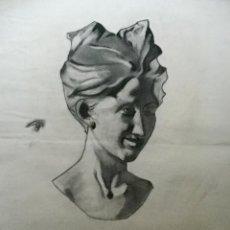 Arte: ANTIGUO DIBUJO A CARBONCILLO BOCETO DE ESCULTURA CLÁSICA BUSTO FEMENINO. Lote 105645931