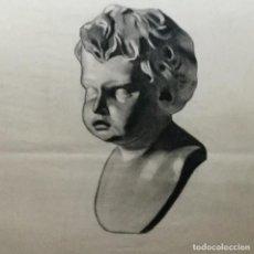 Arte: DIBUJO DE BUSTO MASCULINO ESBOZO DE ESCULTURA CLÁSICA. Lote 105646047