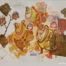 Arte: FIRMA SIN IDENTIFICAR. EXCEPCIONAL DIBUJO TÉCNICA MIXTA DE 47X63 ENMARCADO PERFECTO EN 57X73.5.. Lote 105656399