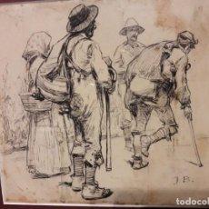 Arte: DIBUJO JOSÉ BENLLIURE, TINTA SOBRE PAPEL, MENDIGOS VALENCIA. Lote 105889351