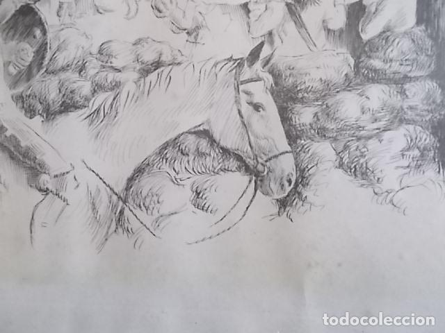 EXCELENTE DIBUJO TEMA QUIJOTESCO / FIRMADO 35X43 (Arte - Dibujos - Contemporáneos siglo XX)