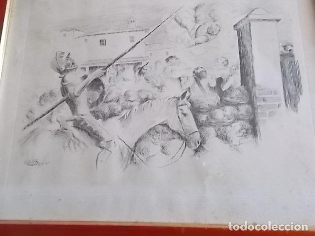 Arte: EXCELENTE DIBUJO TEMA QUIJOTESCO / FIRMADO 35X43 - Foto 3 - 105918827