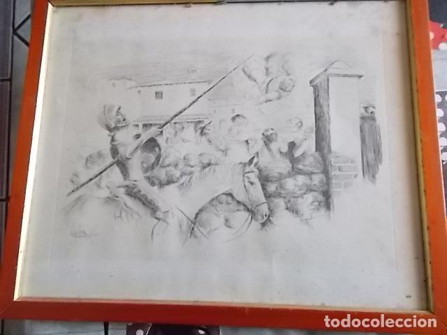 Arte: EXCELENTE DIBUJO TEMA QUIJOTESCO / FIRMADO 35X43 - Foto 4 - 105918827