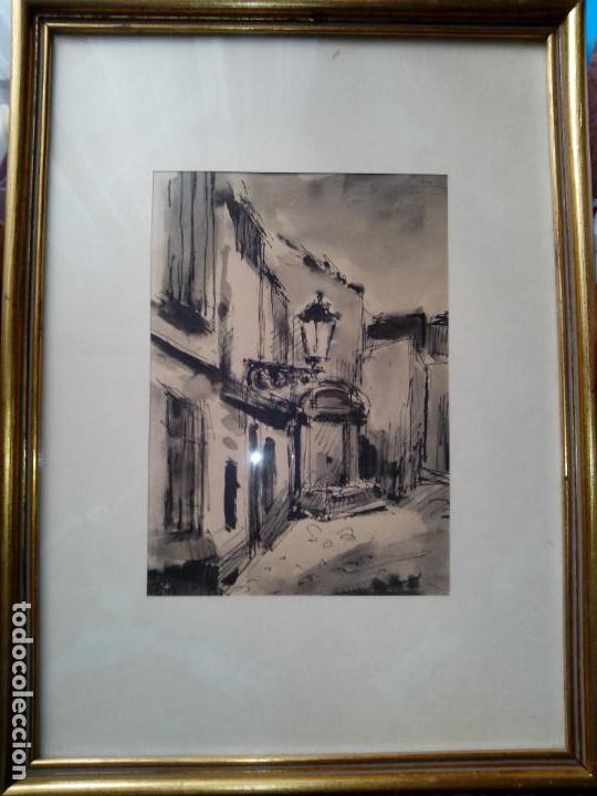 DIBUJO ORIGINAL TINTA Y ACUARELA ENMARCADO FIRMADO (Arte - Dibujos - Contemporáneos siglo XX)